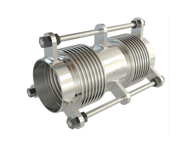 Junta de expansão metálica axial com flanges e tensores